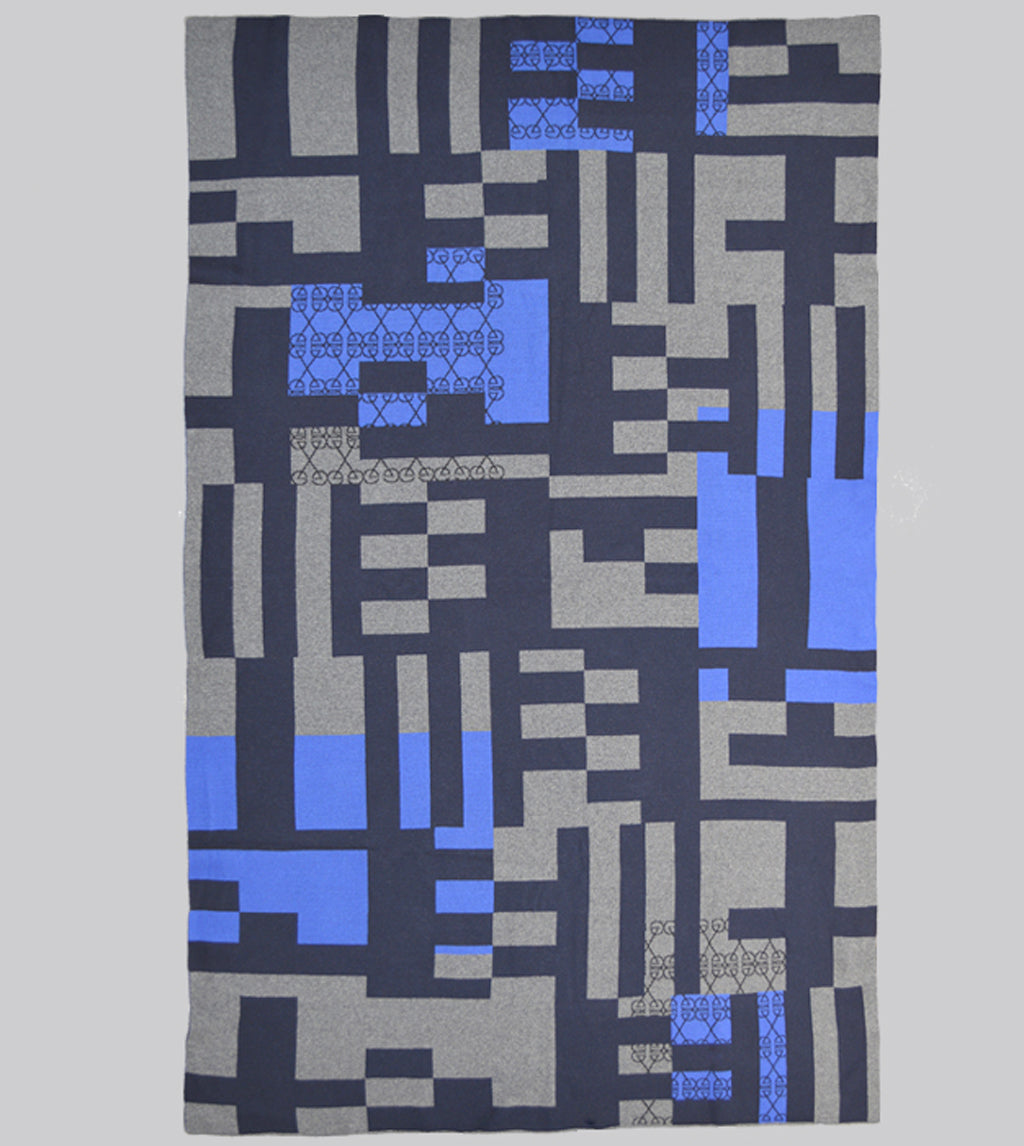 Godwin Vaughan Grid Blanket - Blue