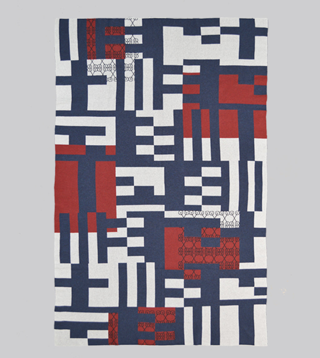 Godwin Vaughan Grid Blanket - Tricolore