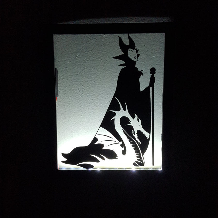 8x10 Maleficent Sleeping Beauty Inspired Disney Light Up Backlit Shadowbox  Float Frame