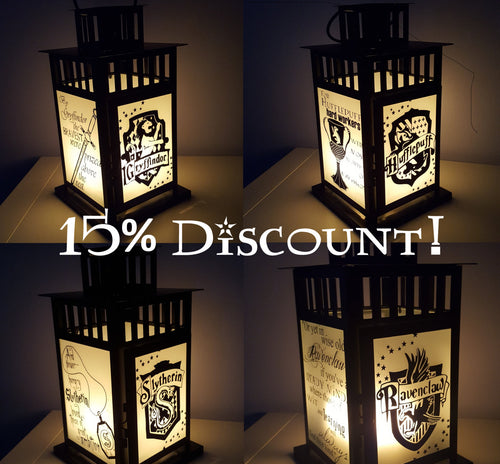 ALL 4 House Lantern Discount Bundle Harry Potter Inspired House Lanterns Medium