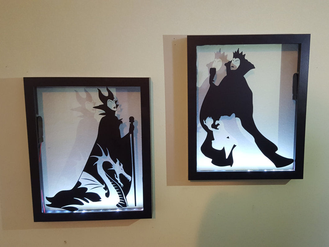 BUNDLE DEAL Evil Queen & Maleficent Inspired Disney Light Up Backlit Shadowbox Float Frame