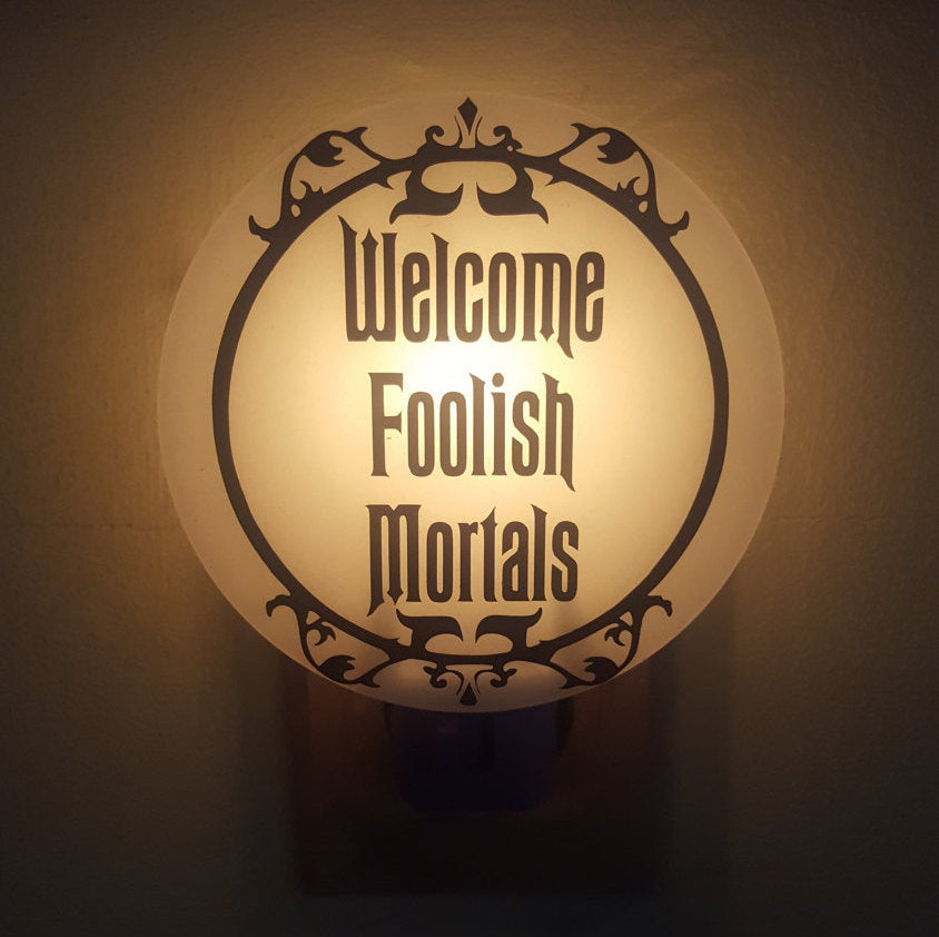 Haunted Mansion Inspired Night Light Series, #4 Foolish Mortals in Wrought Iron Style Frame