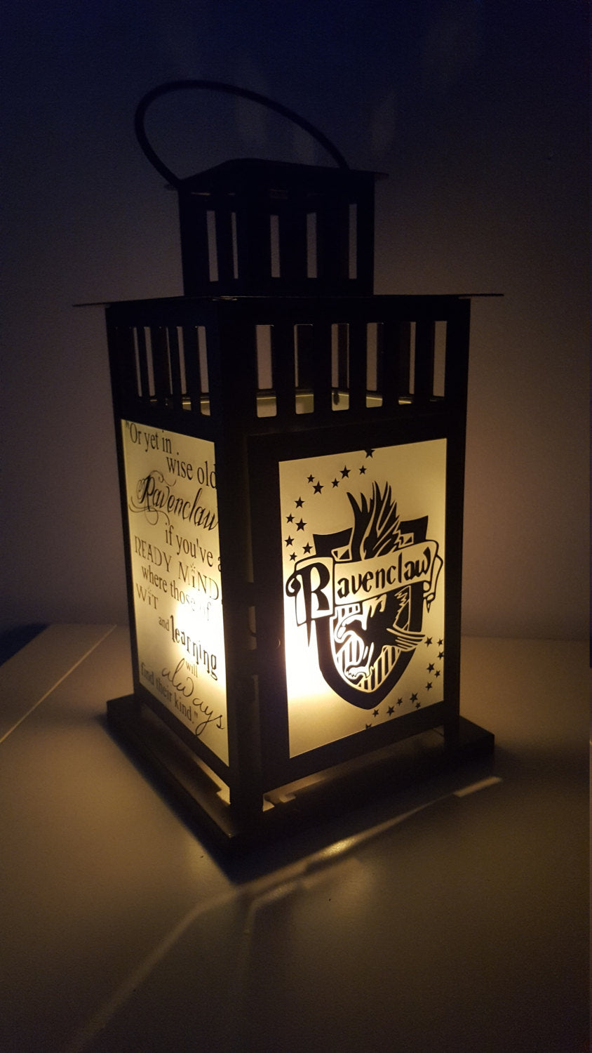 LARGE Harry Potter Inspired Hogwarts Ravenclaw House Lantern, Frosted or Clear Glass