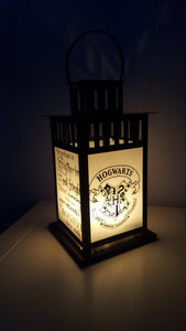 MEDIUM Harry Potter Inspired Hogwarts Slytherin House Lantern, Frosted or Clear Glass