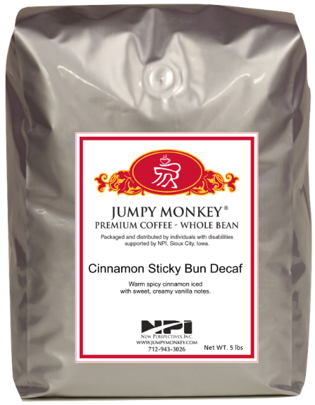 Cinnamon Sticky Bun Decaf - warm, spiced, cinnamon - Jumpy Monkey® Coffee