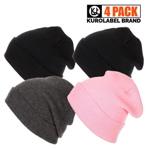 Beanie For Unisex Cuffed Plain Skull Toboggan Knit Hat And Cap-4 packs - Kurolabel Brand