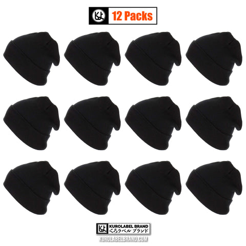 12 inch Long Beanie for Unisex Long Plain Skull Toboggan Knit Hat and Cap per Dozen