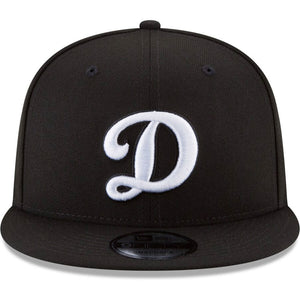 Los Angeles Dodgers New Era Black Alternate Logo Black & White 9FIFTY Snapback Hat - Kurolabel Brand