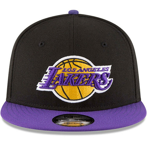 Los Angeles Lakers New Era 9Fifty Basic Black 2 Tone Adjustable Snapback Hat Cap - Kurolabel Brand