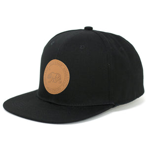 CALI Bear on Round Leather Patch Snapback Cap - Kurolabel Brand