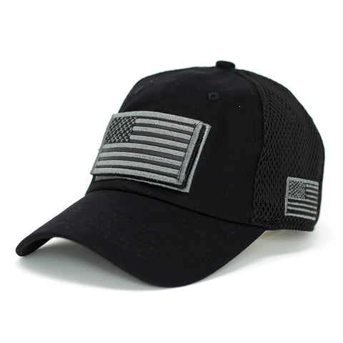 B/W USA Flag Velcro Patch Baseball Cap - Kurolabel Brand