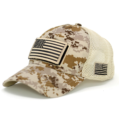 B/W USA Flag Velcro Patch Baseball Cap-Digital Desert Camo - Kurolabel Brand