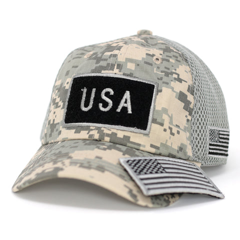 B/W USA Flag Velcro Patch Baseball Cap-Digital Gray Camo - Kurolabel Brand