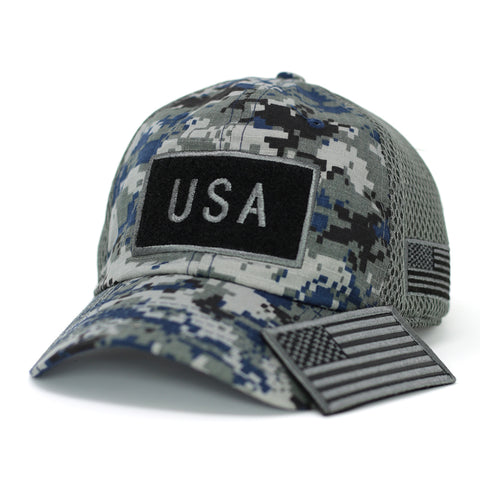 B/W USA Flag Velcro Patch Baseball Cap-Digital Green Camo - Kurolabel Brand