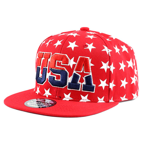 USA with Stars Snapback (RED)