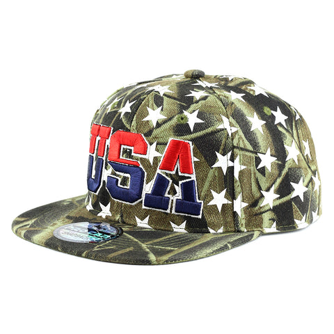 USA with White Stars all Over Snapback Cap
