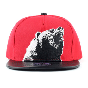 Angry Bear with PU Leather Visor Snapback Cap - Kurolabel Brand