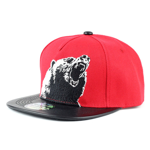 Angry Bear with PU Leather Visor Snapback Cap