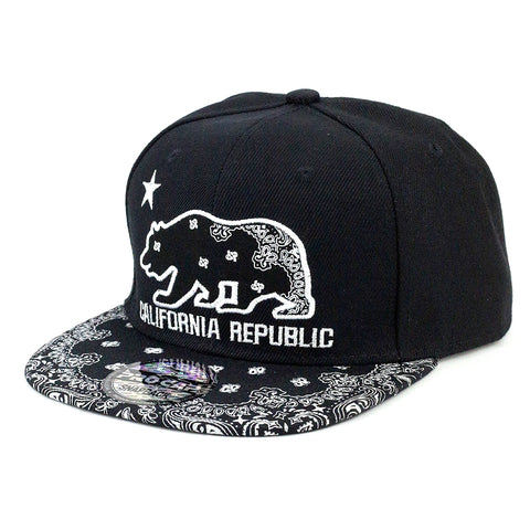 Bandana Visor with California Republic Bear Snapback Cap - Kurolabel Brand