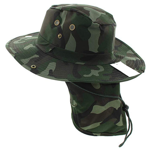 Wide Brim Bora Booney Outdoor Safari Summer Hat w/Neck Flap & Sun Protection - Kurolabel Brand