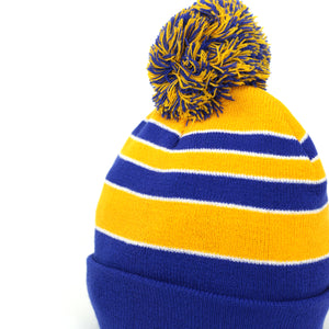 Pom Pom Beanies Trendy Winter Hats - Royal and Gold