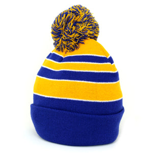Pom Pom Beanies Trendy Winter Hats - Royal and Gold - Kurolabel Brand