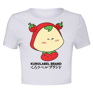 Cute Strawberry Character Cropped T Shirt - Kurolabel Brand