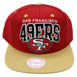 New NFL San Francisco 49ers Arch Logo Mitchell and Ness Snapback Cap Hat - Kurolabel Brand