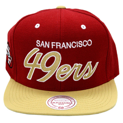 NEW NFL San Francisco 49ers Script Logo Mitchell and Ness Snapback Cap Hat