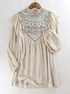 Cotton & Rust Boutique Embroidered Puff Sleeve Dress