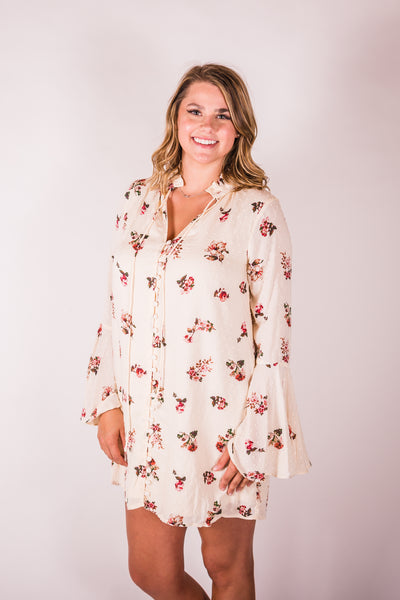 Cotton & Rust Boutique + ENCRM Bell Sleeve Floral Mini Dress