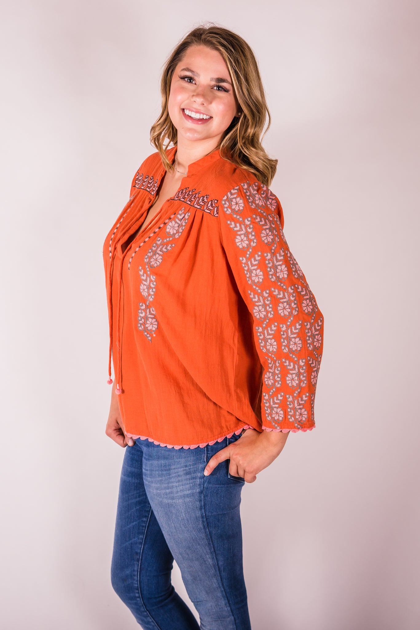 Cotton & Rust Boutique + IJ Ginger Split Neck Embroidered Top