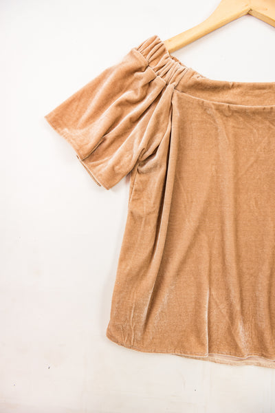 Cotton & Rust Boutique FGM Lexi Velvet Off Shoulder Top