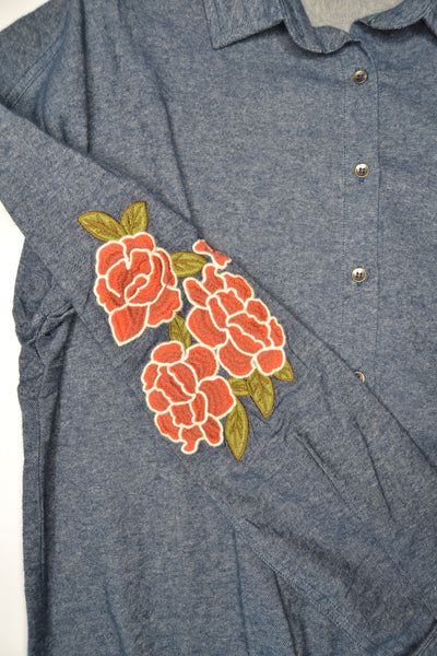 Cotton & Rust Boutique Jamie Embroidered Sleeve Top