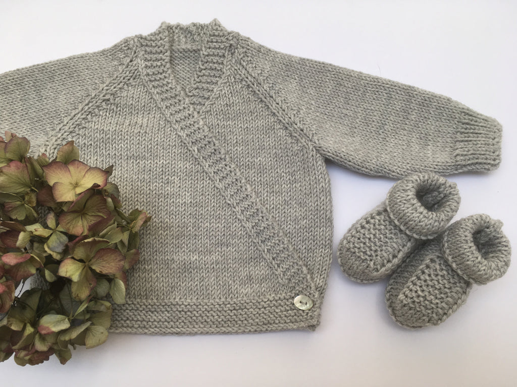 Cross-over Cardigan, Hat & Booties