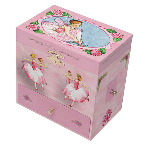 little ballerina pulling on her ballet shoes with corps de ballet on the sides | musical jewelry box with treasure storage for kids with four secret drawers from Enchantmints