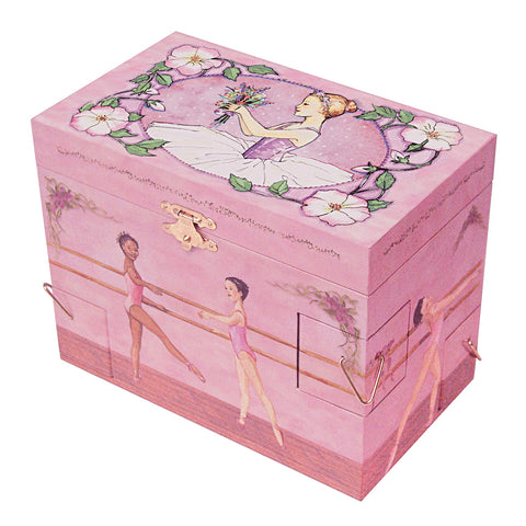 little ballerina surrounded by a morning glory flower garland and holding a posy | kid's musical jewelry box with secret corner drawers for treasure storage from Enchantmints