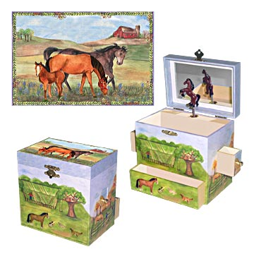 Horse Ranch Music Box 3-in-1 view | beautiful childrens decor and gifts from Enchantmints