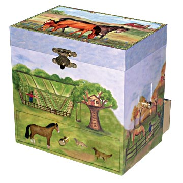 Horse Ranch Music Box closed | beautiful childrens gifts and decor from Enchantmints
