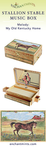 Stallion Stable Music Box for children's jewelry and keepsakes.  Perfect gift for horse lovers | Pretty children's gifts and kids decor from Enchantmints