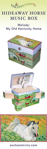 Hideaway Horse Music Box for children's jewelry and keepsakes.  Perfect gift for horse lovers | Pretty children's gifts and kids decor from Enchantmints