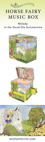 Horse Fairy Music Box for children's jewelry and keepsakes.  Perfect gift for fairy and horse lovers | Pretty children's gifts and kids decor from Enchantmints