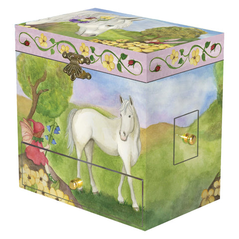 horse with fairy friends in flowery field | kid's music box with secret drawers for treasure storage from Enchantmints