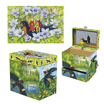 Thumbelina's Swallow Music Box three-in-one view | Beautiful gifts and decor for children from Enchantmints