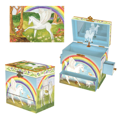 pegasus musical treasure box, great gift for kids, with fairy friends and a big rainbow sky.