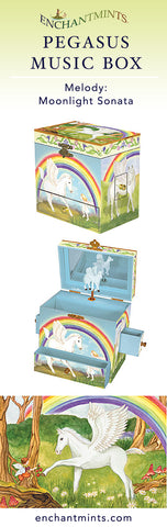 Pegasus Music Box for children's jewelry and keepsakes.  Perfect gift for magic and horse lovers | Pretty children's gifts and kids decor from Enchantmints
