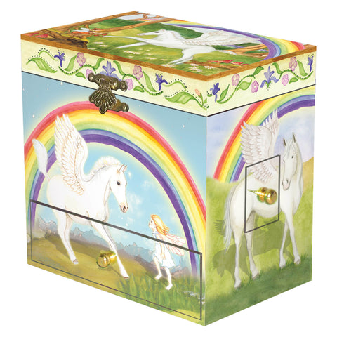 pegasus with rainbow and fairies in the woods  | pretty music box with secret storage drawers for kids from Enchantmints