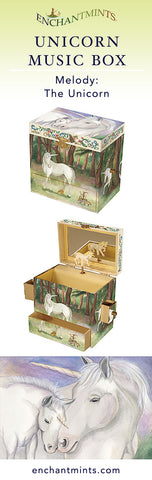 Unicorn Music Box for children's jewelry and keepsakes.  Perfect gift for magic and horse lovers | Pretty children's gifts and kids decor from Enchantmints