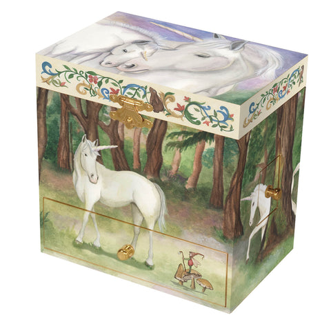 Unicorn in the woods, unicorn mother and child, kid's music box with secret drawers for treasure storage from Enchantmints
