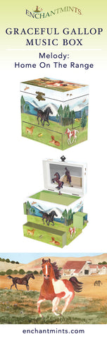 Graceful Gallop Music Box for children's jewelry and keepsakes.  Perfect gift for horse lovers | Pretty children's gifts and kids decor from Enchantmints